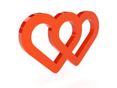 Two hearts icon over white background. Concept 3D illustration. — Stock Photo