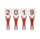 Men holding the 2019 year. Concept 3D illustration. — Stock Photo