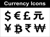 Currency icons set. Black over white background. — Stock Vector