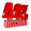 44 percent discount. Red shiny text. Concept 3D illustration. — Foto de Stock