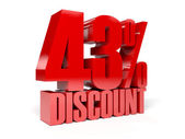 43 percent discount. Red shiny text. Concept 3D illustration. — Stock Photo