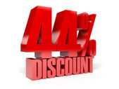 44 percent discount. Red shiny text. Concept 3D illustration. — Stock Photo