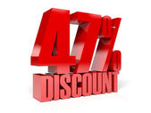 47 percent discount. Red shiny text. Concept 3D illustration. — Stock Photo