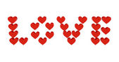 Red hearts set in word LOVE. Concept 3D illustration. — Stock Photo