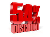 54 percent discount. Red shiny text. Concept 3D illustration. — Stock Photo
