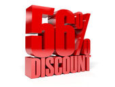 56 percent discount. Red shiny text. Concept 3D illustration. — Stock Photo