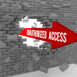 Stock Photo: Arrow with words Unauthorized Access breaking brick wall. Concept 3D illustration.