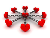 Eight hearts linked by black chain to one heart in center. Concept 3D illustration. — Stock Photo