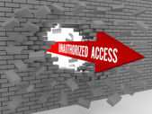 Arrow with words Unauthorized Access breaking brick wall. Concept 3D illustration. — Stock Photo