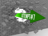 Arrow with word Attempt number 7 breaking brick wall. Concept 3D illustration. — Stock Photo