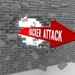 Arrow with words Hacker Attack breaking brick wall. Concept 3D illustration. — Stock Photo