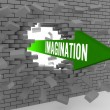 Arrow with word Imagination breaking brick wall. Concept 3D illustration. — Stock Photo