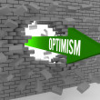 Arrow with word Optimism breaking brick wall. Concept 3D illustration. — Stok fotoğraf