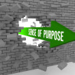 Arrow with words Sense of Purpose breaking brick wall. Concept 3D illustration. — Stok Fotoğraf #29785569