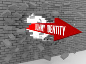 Arrow with words Dummy Identity breaking brick wall. Concept 3D illustration. — Stock Photo