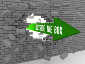 Arrow with words Outside The Box breaking brick wall. Concept 3D illustration. — Stock Photo