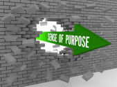 Arrow with words Sense of Purpose breaking brick wall. Concept 3D illustration. — Stock Photo