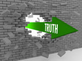 Arrow with word Truth breaking brick wall. Concept 3D illustration. — Stock Photo