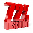 72 percent discount. Red shiny text. Concept 3D illustration. — Stock Photo