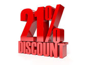 21 percent discount. Red shiny text. Concept 3D illustration. — Stock Photo