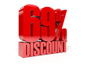69 percent discount. Red shiny text. Concept 3D illustration. — Zdjęcie stockowe