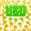 USD sign surrounded by question marks. Concept 3D illustration. — Stock Photo