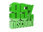95 percent discount. Green shiny text. Concept 3D illustration. — Stock Photo