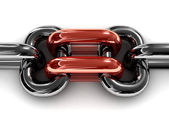 Double red chain link. Concept 3D illustration. — Stock Photo