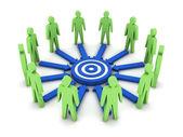 Groupe de personnes 3d travaux vers un objectif commun. illustration de la notion. — Photo