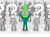 One man with exclamation mark and a lot of men with question marks. Concept 3D illustration. — Stock Photo
