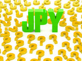 JPY sign surrounded by question marks. Concept 3D illustration. — Stockfoto