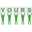Men holding the phrase BE YOURSELF. Concept 3D illustration. — Stock Photo
