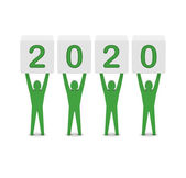 Men holding the 2020 year. Concept 3D illustration. — Stock Photo