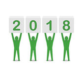 Men holding the 2018 year. Concept 3D illustration. — Stock Photo