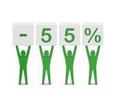 Mężczyźni posiadający minus 55 procent. ilustracja koncepcja. — Zdjęcie stockowe