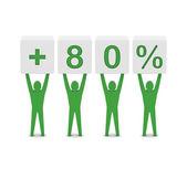 Men holding plus 80 percent. Concept 3D illustration. — Стоковое фото