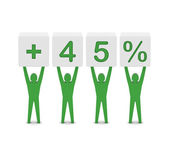 Men holding plus 45 percent. Concept 3D illustration. — Stock Photo