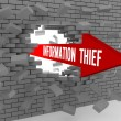 Arrow with words Information Thief breaking brick wall. Concept 3D illustration. — Stock Photo #31049497