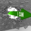 Arrow with phrase I Can breaking brick wall. Concept 3D illustration. — Stock Photo