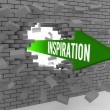Arrow with word Inspiration breaking brick wall. Concept 3D illustration. — Stock Photo