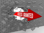 Arrow with words Access Granted breaking brick wall. Concept 3D illustration. — Foto de Stock
