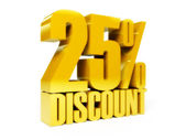 25 percent discount. Gold shiny text. Concept 3D illustration. — Stock Photo