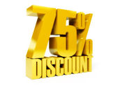 75 percent discount. Gold shiny text. Concept 3D illustration. — Stock Photo