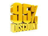 95 percent discount. Gold shiny text. Concept 3D illustration. — Stock Photo