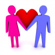 Man and woman in love. Couple. Concept 3D illustration. — Stock Photo