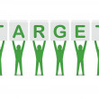 Men holding the word target. Concept 3D illustration. — Stock Photo