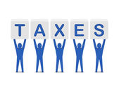 Men holding the word taxes. Concept 3D illustration. — Stock Photo
