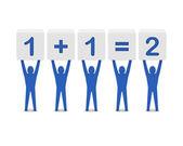 Homens segurando a matemática simples. ilustração 3d do conceito. — Foto Stock