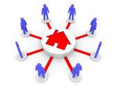 Hus problem förenar människor. hostel. begreppet 3d illustration. — Stockfoto