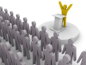 Leader speaking to crowd. Concept 3D illustration. — Stock Photo